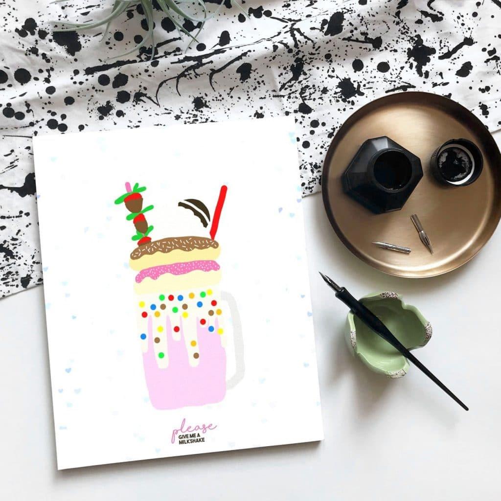 Nieuwe Stijl Grafische Vormgeving Putten Ontwerp Goedkoop Reclame Veluwe Logo Drukwerk Wallpaper Illustratie Milkshake kaart